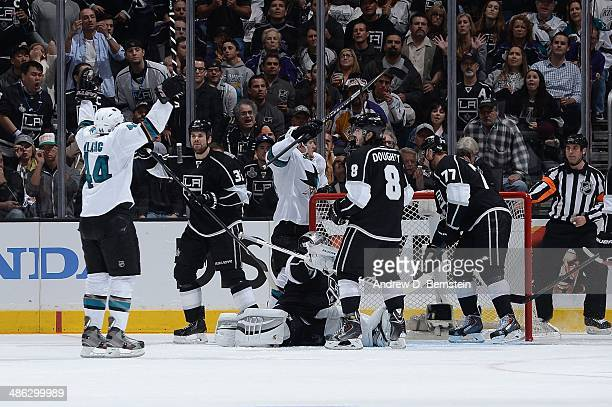 MarcEdouard Vlasic of the San Jose Sharks celebrates a goal against the Los Angeles Kings in Game Three of the First Round of the 2014 Stanley Cup...