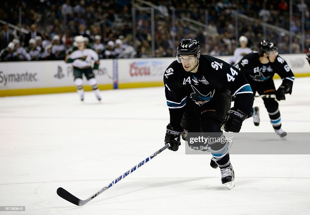 <a gi-track='captionPersonalityLinkClicked' href=/galleries/search?phrase=Marc-Edouard+Vlasic&family=editorial&specificpeople=880807 ng-click='$event.stopPropagation()'>Marc-Edouard Vlasic</a> #44 of the San Jose Sharks in action against the Minnesota Wild at HP Pavilion on April 18, 2013 in San Jose, California.