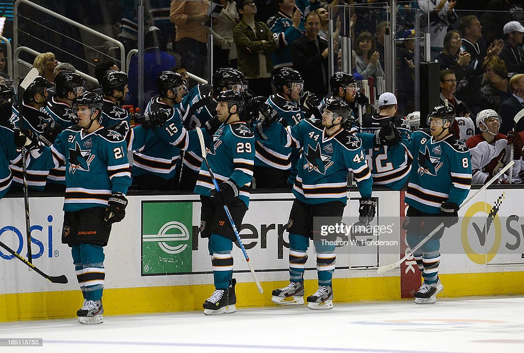 <a gi-track='captionPersonalityLinkClicked' href=/galleries/search?phrase=Marc-Edouard+Vlasic&family=editorial&specificpeople=880807 ng-click='$event.stopPropagation()'>Marc-Edouard Vlasic</a> #44 of the San Jose Sharks is congratulated by teammates after he scored a goal against the Phoenix Coyotes in the third period at HP Pavilion on March 30, 2013 in San Jose, California. The Sharks won the game 3-2 in an overtime shoot-out.