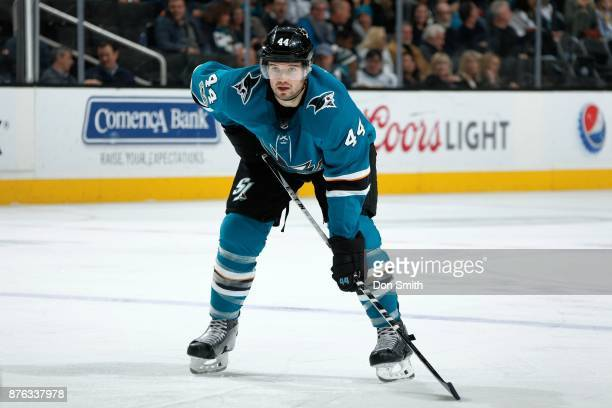 MarcEdouard Vlasic of the San Jose Sharks looks on during a NHL game against the Florida Panthers at SAP Center on November 16 2017 in San Jose...
