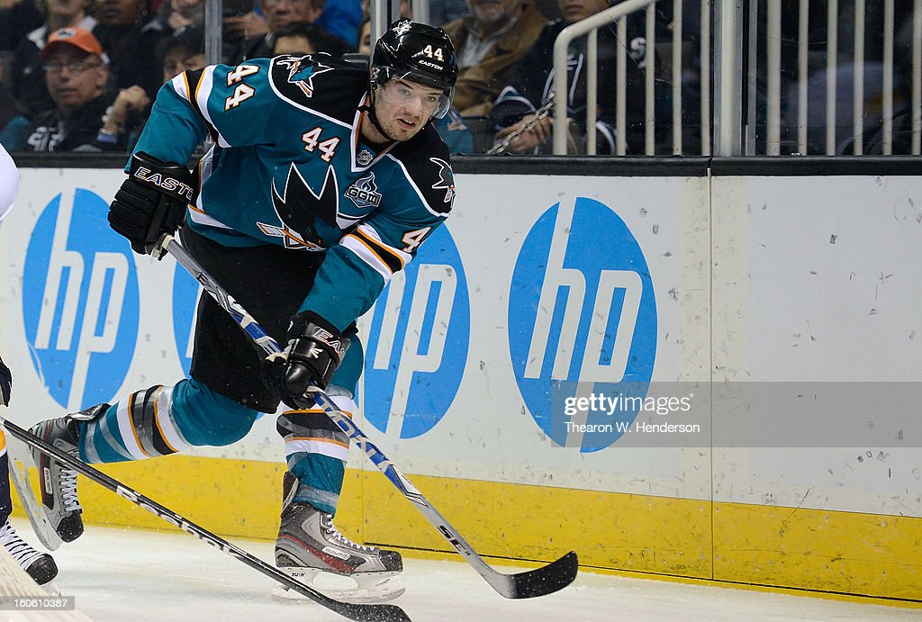 Marc-Edouard Vlasic #44 of the San Jose Sharks passes the puck up ice against the Nashville Predators at HP Pavilion on February 2, 2013 in San Jose, California.