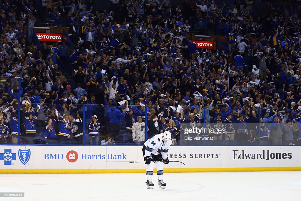 Marc-Edouard Vlasic #44 of the San Jose Sharks reacts after the third period against the St. Louis Blues in Game One of the Western Conference Final during the 2016 NHL Stanley Cup Playoffs at Scottrade Center on May 15, 2016 in St Louis, Missouri.