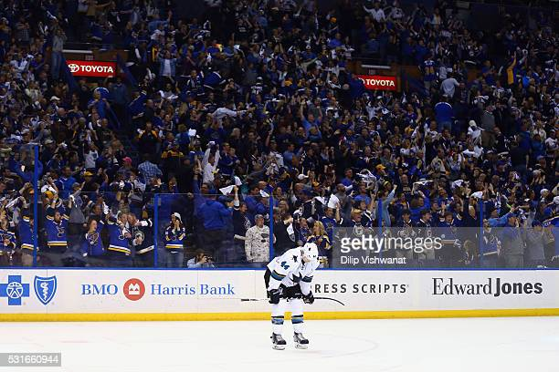 MarcEdouard Vlasic of the San Jose Sharks reacts after the third period against the St Louis Blues in Game One of the Western Conference Final during...