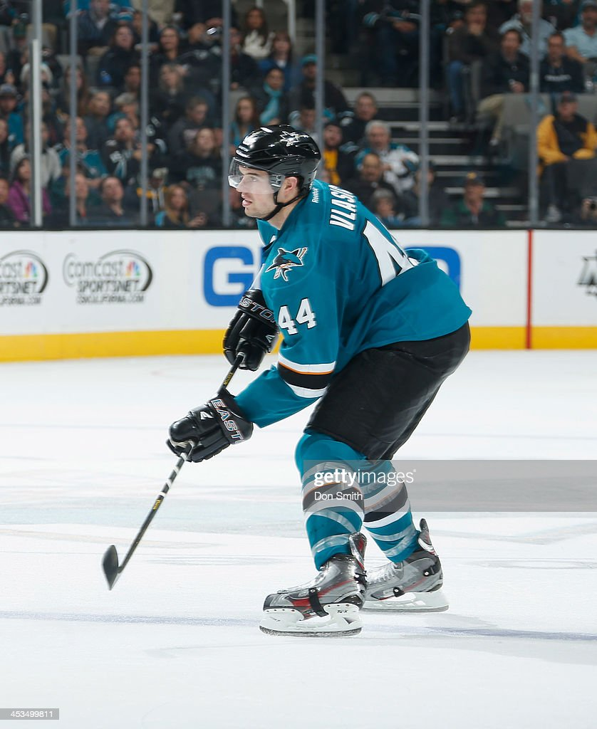 <a gi-track='captionPersonalityLinkClicked' href=/galleries/search?phrase=Marc-Edouard+Vlasic&family=editorial&specificpeople=880807 ng-click='$event.stopPropagation()'>Marc-Edouard Vlasic</a> #44 of the San Jose Sharks skates after the puck against the Los Angeles Kings during an NHL game on November 27, 2013 at SAP Center in San Jose, California.