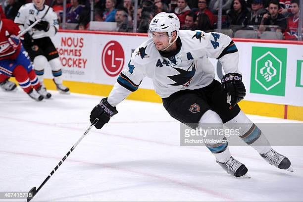 MarcEdouard Vlasic of the San Jose Sharks skates during the NHL game against the Montreal Canadiens at the Bell Centre on March 21 2015 in Montreal...