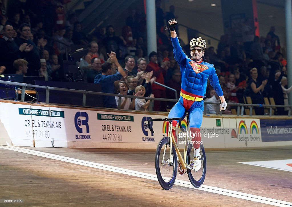 Marcel Barth dressed as Superman during day four at the Copenhagen Six Days Race Cycling at Ballerup Super Arena on February 7, 2016 in Ballerup, Denmark.