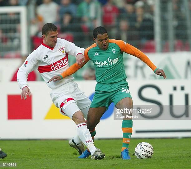 Marcel Bordon of Stuttgart in action against Ailton of Bremen during The Bundesliga match between VfB Stuttgart and Werder Bremen at The Gottlieb...