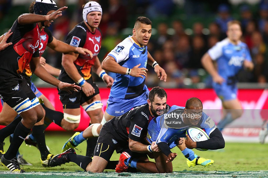 Marcel Brache of the Force gets tackled by Francois Brummer of the Bulls during the round 10 Super Rugby match between the Force and the Bulls at nib Stadium on April 29, 2016 in Perth, Australia.
