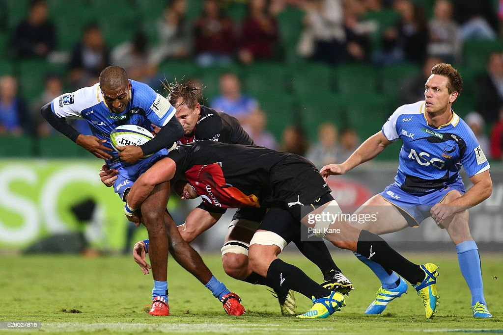 Marcel Brache of the Force gets tackled during the round 10 Super Rugby match between the Force and the Bulls at nib Stadium on April 29, 2016 in Perth, Australia.