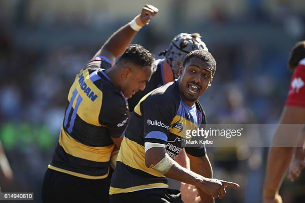 Marcel Brache of the Spirit celebrates a try during the NRC Semi Final match between the Sydney Rays and Perth Spirit at Pittwater Park on October 16...