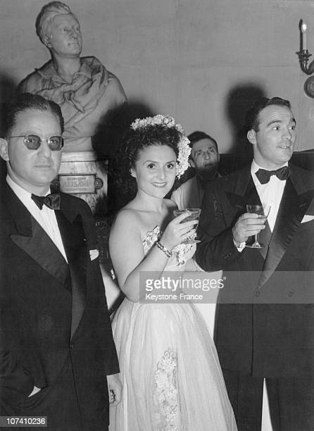 Marcel Cerdan And His Wife At Opera Bal Des Petits Lits Blancs In Paris On 1947