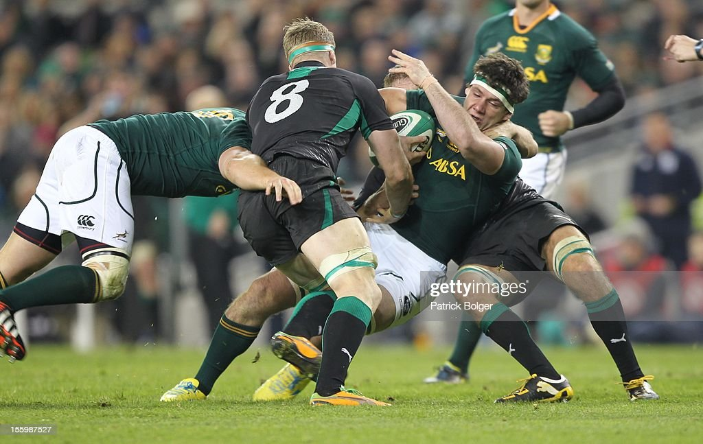 Marcel Coetzee of South Africa and Jamie Heaslip of Ireland during the International rugby match between Ireland and South Africa in the Aviva Stadium on November 10, 2012 in Dublin, Ireland.