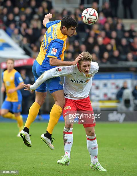 Marcel Correia of Eintracht Braunschweig and Sebastian Polter of 1 FC Union Berlin during the game between Eintracht Braunschweig and Union Berlin on...