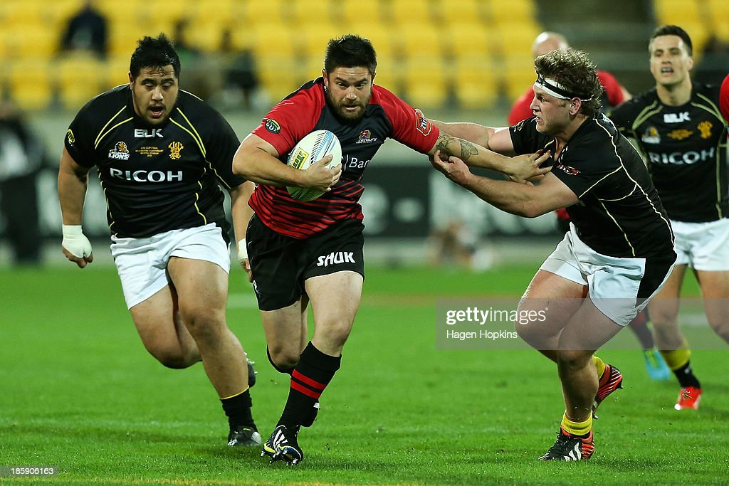 Marcel Cummings-Toone of Canterbury makes a break during the ITM Cup Premiership Final match between Wellington and Canterbury at Westpac Stadium on October 26, 2013 in Wellington, New Zealand.