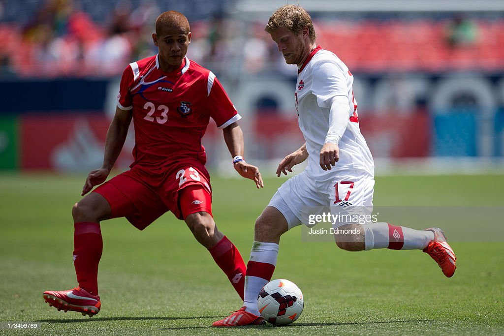Marcel De Jong #17 of Canada controls the ball against Roberto Chen #23 of Panama during the second half of a CONCACAF Gold Cup match at Sports Authority Field at Mile High on July 14, 2013 in Denver, Colorado. Canada and Panama played to a 0-0 draw.