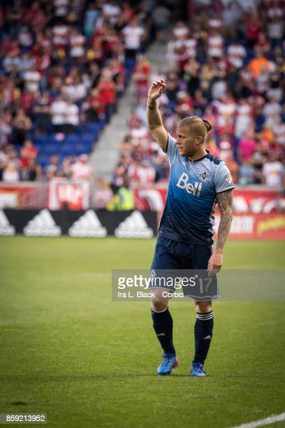 Marcel de Jong of the Vancouver Whitecaps FC prepares to take the free kick during the MLS match between New York Red Bulls and Vancouver Whitecaps...