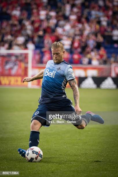 Marcel de Jong of the Vancouver Whitecaps FC takes the free kick during the MLS match between New York Red Bulls and Vancouver Whitecaps FC at the...