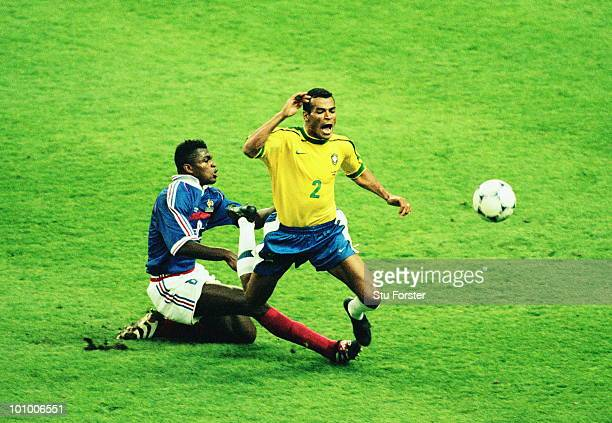 Marcel Desailly of France fouls Cafu of Brazil and is shown the red card and sent off during the 1998 FIFA World Cup final on 12 July 1998 between...
