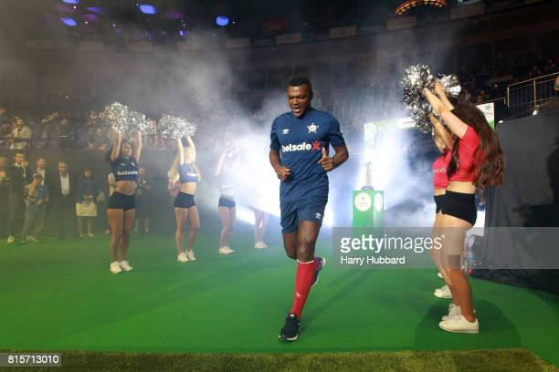 Marcel Desailly of France makes his way onto the pitch for the SemiFinal Star Sixes match between Spain and France at The O2 Arena on July 16 2017 in...
