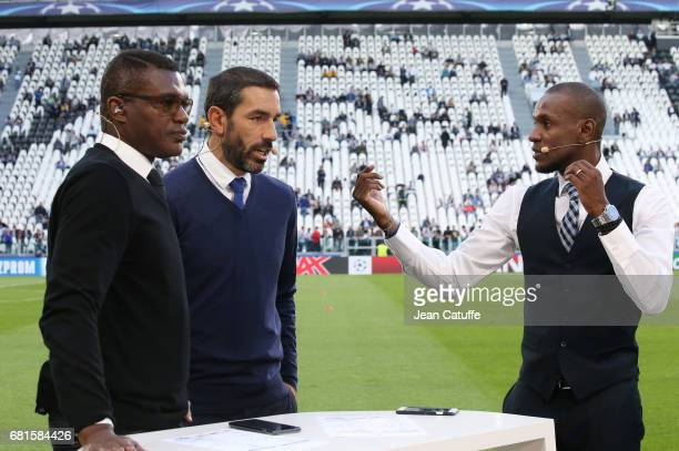Marcel Desailly Robert Pires Eric Abidal comment for beIN Sports the UEFA Champions League semi final second leg match between Juventus Turin and AS...