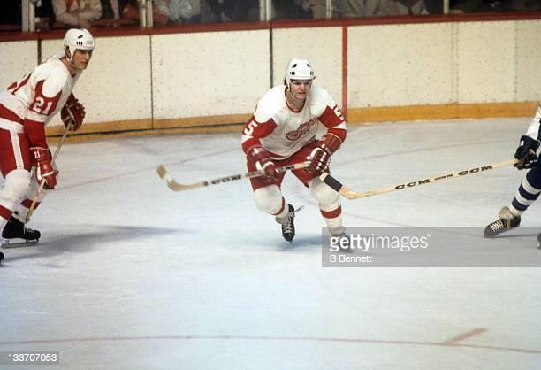 Marcel Dionne of the Detroit Red Wings skates on the ice during an NHL game against the Toronto Maple Leafs on February 26 1974 at the Detroit...
