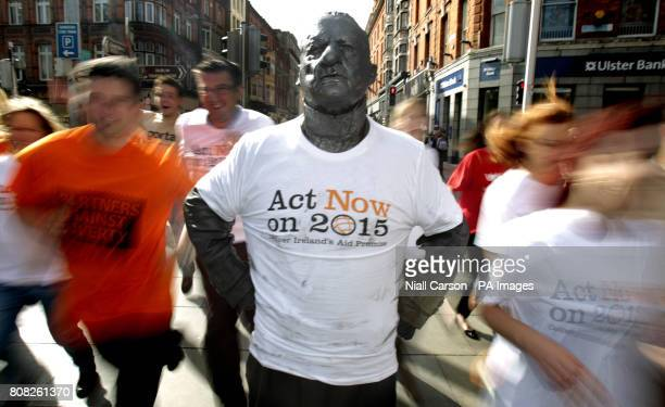 Marcel Dublin's human statue takes part in a photo call in Grafton Street Dublin for Dochas the association of Irish NonGovernmental Development...