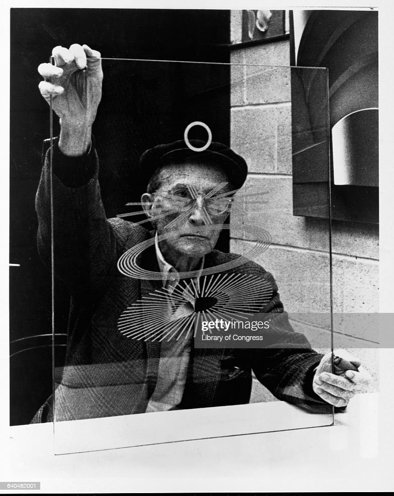 Marcel Duchamp Holding a Glass Study for The Large Glass The Bride Stripped Bare by Her Bachelors Even