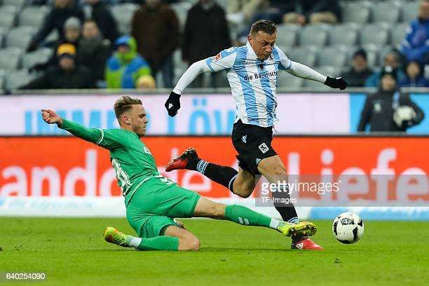 Marcel Franke of Greuther Fuerth and Ivica Olic of 1860 Muenchen battle for the ball during the Second Bandesliga match between TSV 1860 Muenchen and...