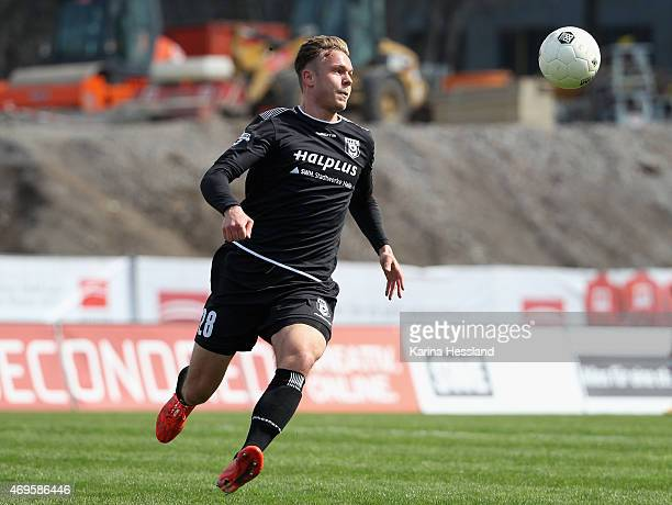 Marcel Franke of Halle during the Third League match between FC Rot Weiss Erfurt and Hallescher FC at Steigerwaldstadion on April 11 2015 in Erfurt...