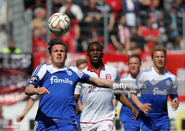 Marcel Gebers of Kiel on the ball during the Third League match between Hallescher FC and Kieler SV Holstein at Erdgas Sportpark on April 19 2015 in...