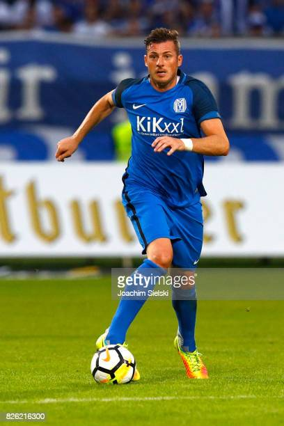 Marcel Gebers of Meppen during the 3 Liga match between SV Meppen and 1 FC Magdeburg at Haensch Arena on August 2 2017 in Meppen Germany