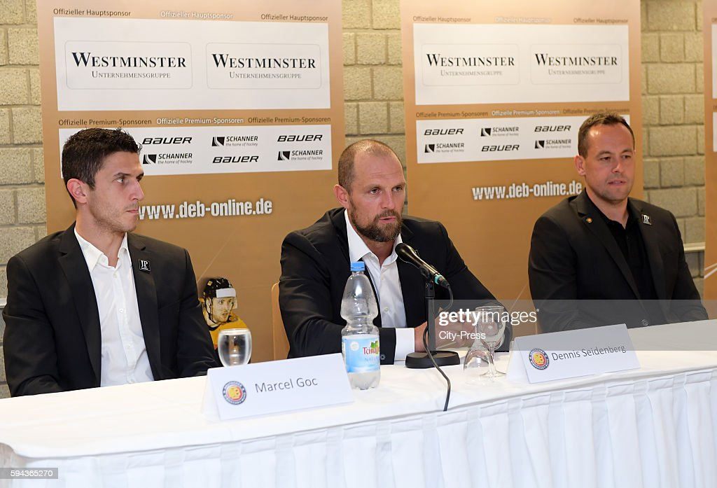 Marcel Goc Dennis Seidenberg and coach Marco Sturm during a DEB press conference on August 23 2016 in Mannheim Germany
