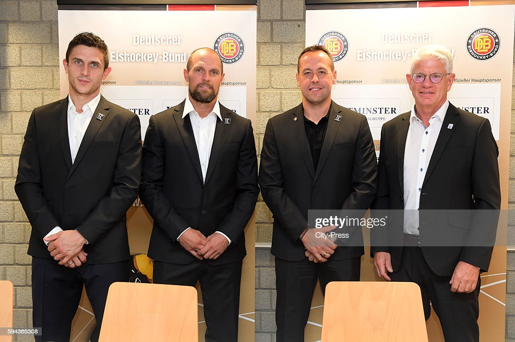 Marcel Goc Dennis Seidenberg coach Marco Sturm and DEB president Franz Reindl during a DEB press conference on August 23 2016 in Mannheim Germany