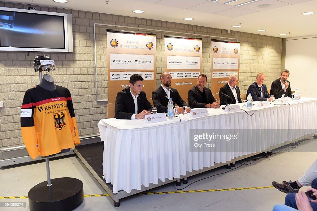 Marcel Goc Dennis Seidenberg coach Marco Sturm DEB president Franz Reindl Westminster CEO Mario Landsmann and Alexander Morel during a DEB press...
