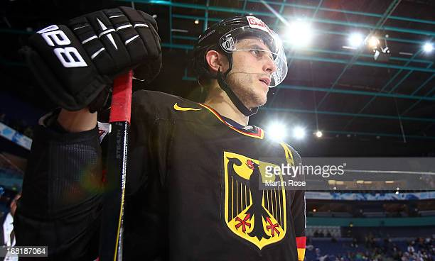 Marcel Goc of Germany looks on during the IIHF World Championship group H match between Germany and Slovakia at Hartwall Areena on May 6 2013 in...