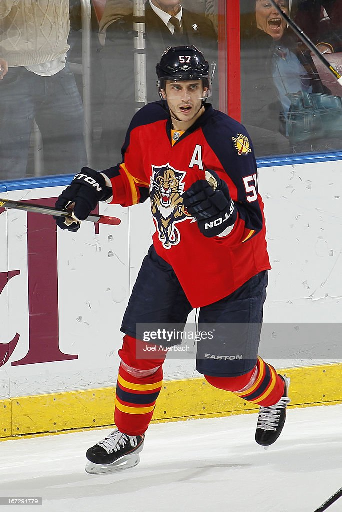 <a gi-track='captionPersonalityLinkClicked' href=/galleries/search?phrase=Marcel+Goc&family=editorial&specificpeople=541626 ng-click='$event.stopPropagation()'>Marcel Goc</a> #57 of the Florida Panthers celebrates after scoring a third period goal against the New York Rangers at the BB&T Center on April 23, 2013 in Sunrise, Florida. The Panthers defeated the Rangers 3-2.