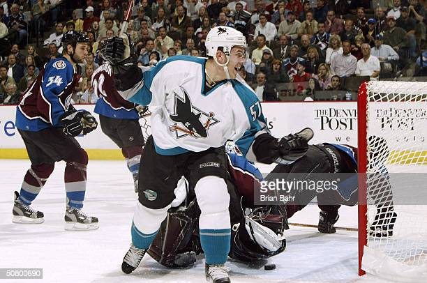 Marcel Goc of the San Jose Sharks celebrates his goal against David Aebischer of the Colorado Avalanche in the second period of Game six of the...