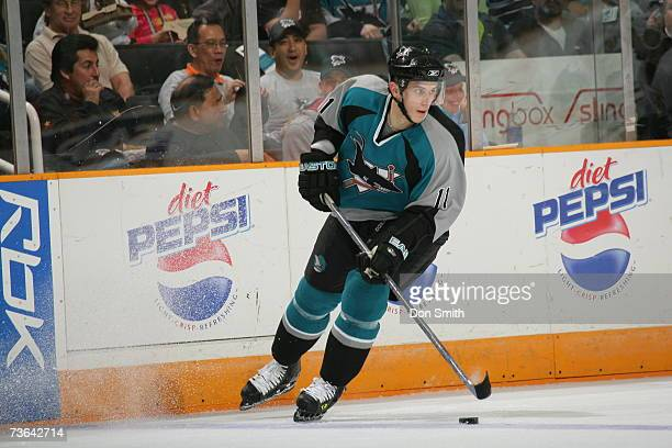 Marcel Goc of the San Jose Sharks skates with the puck during a game against the Edmonton Oilers on March 11 2007 at the HP Pavilion in San Jose...