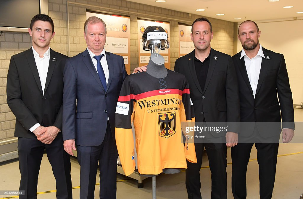 Marcel Goc Westminster CEO Mario Landsmann coach Marco Sturm and Dennis Seidenberg of Team Germany during a DEB press conference on August 23 2016 in...