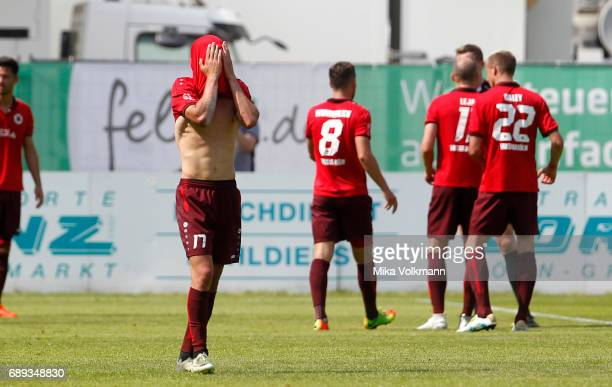 Marcel Gottschling of Viktoria Koeln disappointed during the Third League Plaffoff match between Viktoria Koeln and FC CZ Jena at Sportpark...