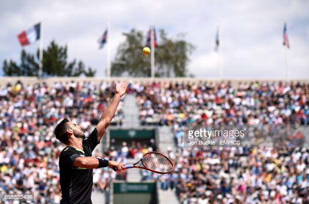 Marcel Granollers during his Second round men's singles match against Roger Federer on day four of the French Open at Roland Garros on May 27 2015 in...