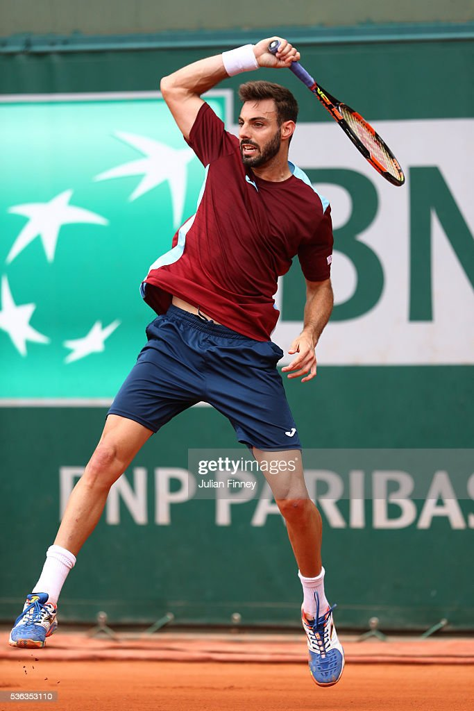 Marcel Granollers of France hits a forehand during the Men's Singles fourth round match against Dominic Thiem of Austria on day eleven of the 2016...