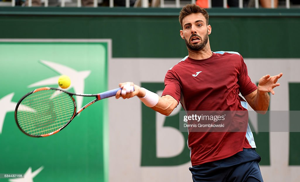 Marcel Granollers of Spain hits a forehand during the Men's Singles second round match against Nicolas Mahut of France on day five of the 2016 French Open at Roland Garros on May 26, 2016 in Paris, France.