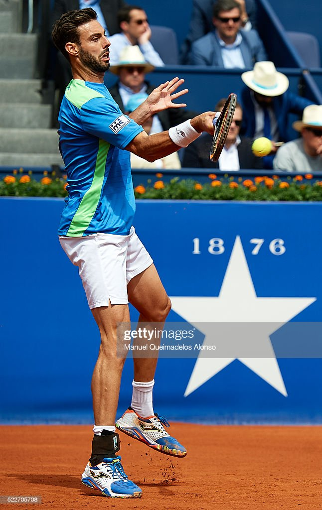 Marcel Granollers of Spain in action against Rafael Nadal of Spain during day three of the Barcelona Open Banc Sabadell at the Real Club de Tenis...