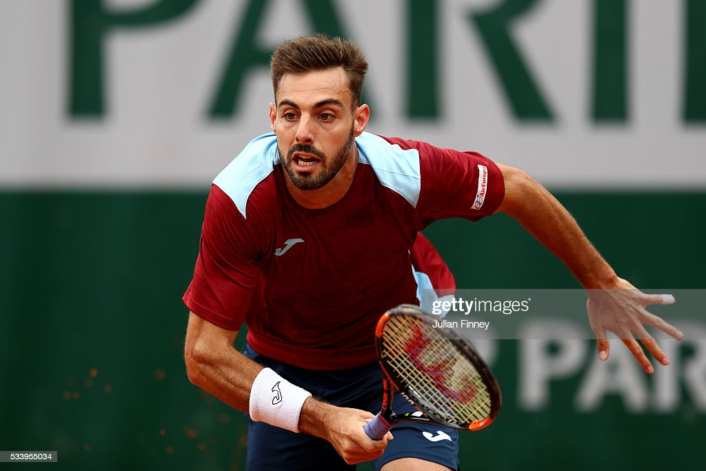 Marcel Granollers of Spain in action during the Men's Singles first round match against Fabio Fognini of Italy on day three of the 2016 French Open...