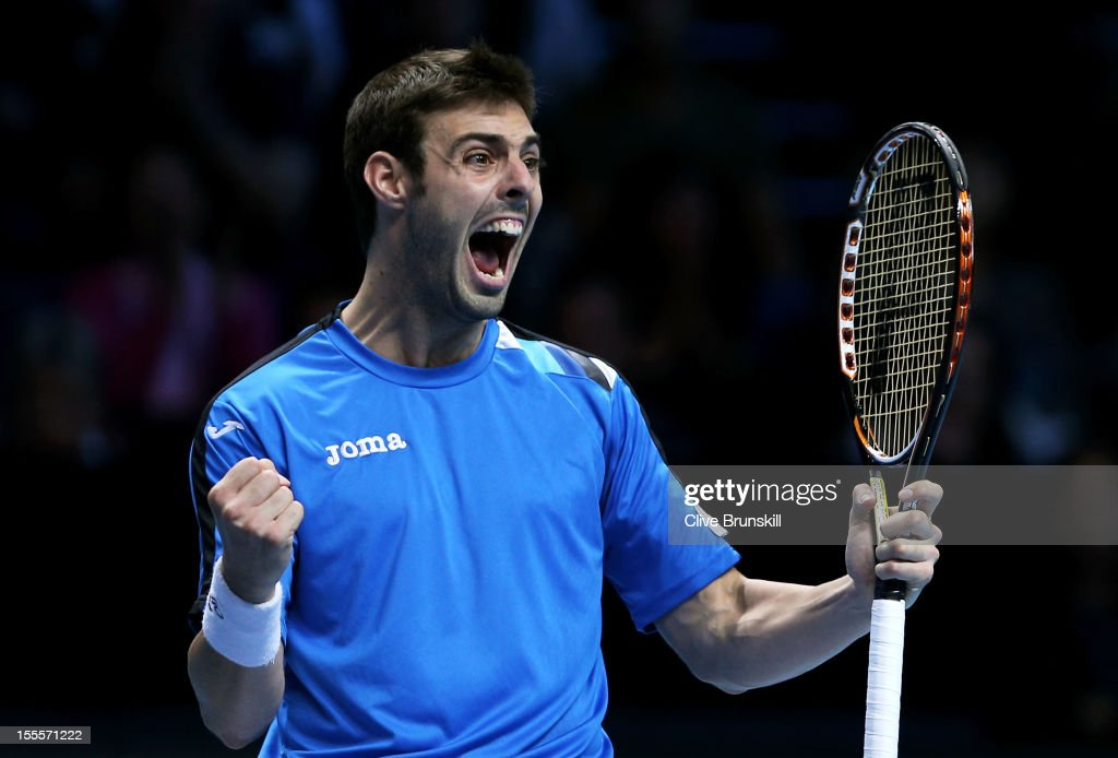 Marcel Granollers of Spain, partner of Marc Lopez of Spain celebrates their victory in the men's doubles match against Bob Bryan of the United States and Mike Bryan of the United States on day one of the ATP World Tour Finals at the O2 Arena on November 5, 2012 in London, England.