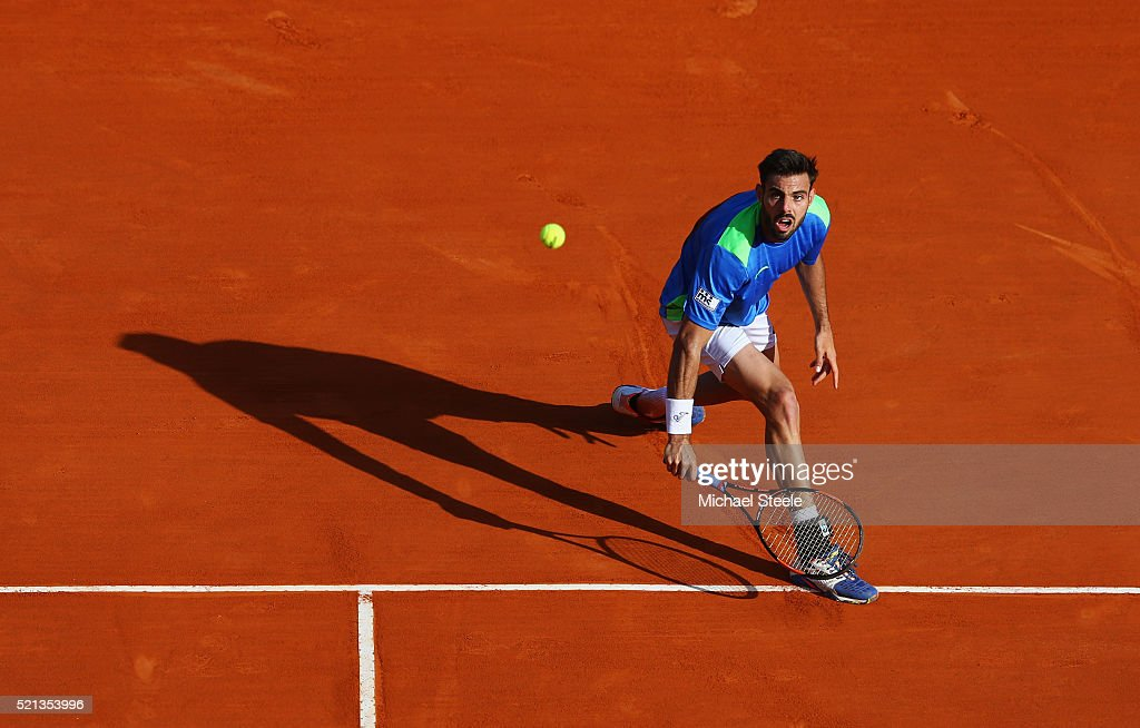 Marcel Granollers of Spain watches the ball during the quarter final match against Gael Monfils of France on day six of the Monte Carlo Rolex Masters...
