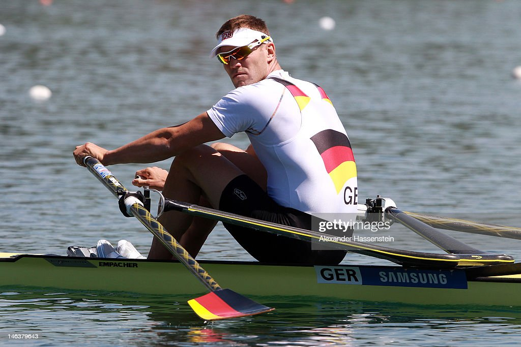 <a gi-track='captionPersonalityLinkClicked' href=/galleries/search?phrase=Marcel+Hacker&family=editorial&specificpeople=227472 ng-click='$event.stopPropagation()'>Marcel Hacker</a> of Germany competes in the Men´s Single Sculls heat during the 2012 Samsung World Rowing Cup III at the Ruderregattastrecke on June 15, 2012 in Munich, Germany.