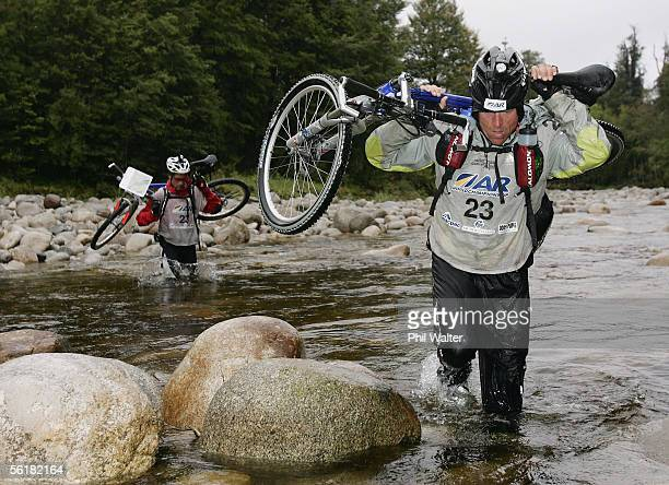 Marcel Hagener from the New Zealand team Balance Vector crosses the Giles Creek with his mountain bike on the third day of the Adventure Racing World...