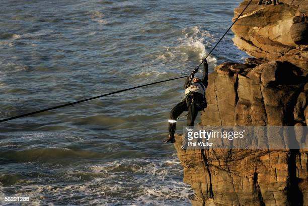 Marcel Hagener from the New Zealand team Balance Vector rock climbs on the Charleston Clifts overlooking the Tasman Sea on the fifth day of the...